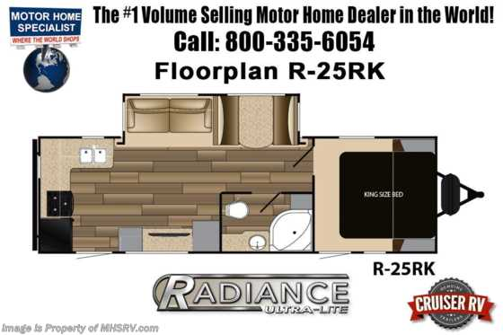 2020 Cruiser RV Radiance Ultra-Lite 25RK Travel Trailer RV W/ King, Stabilizers & Second A/C Floorplan