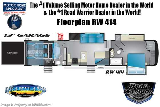 2020 Heartland RV Road Warrior 414RW Bath & 1/2 Toy Hauler 5th Wheel W/ 3 A/Cs, Ext TV, Res Fridge Floorplan