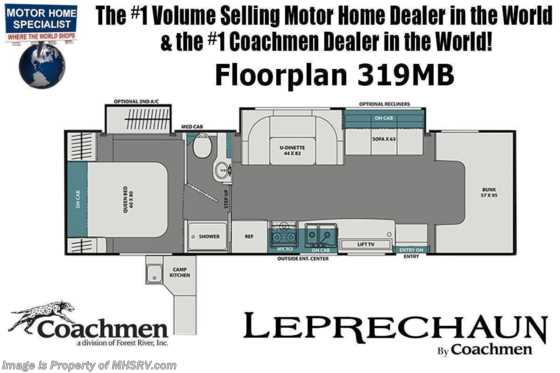 2021 Coachmen Leprechaun 319MB W/ FBP, Dual Recliners, Dual A/Cs, Jacks & Ext Camp Kitchen Floorplan