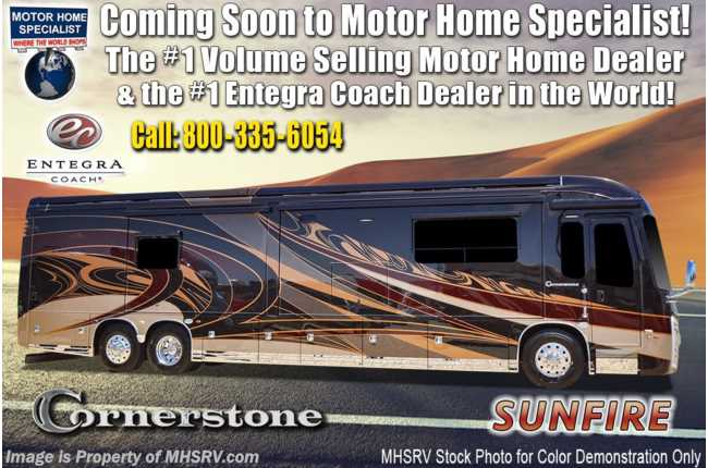 2021 Entegra Coach Cornerstone 45X W/ 605HP, WiFi, Solar, King Bed, Theater Seating, Stonewall
