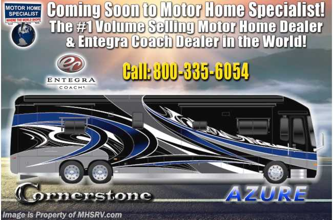 2021 Entegra Coach Cornerstone 45W Bath & 1/2 W/ 605HP, Theater Seats, WiFi, Solar, Stonewall & King Bed