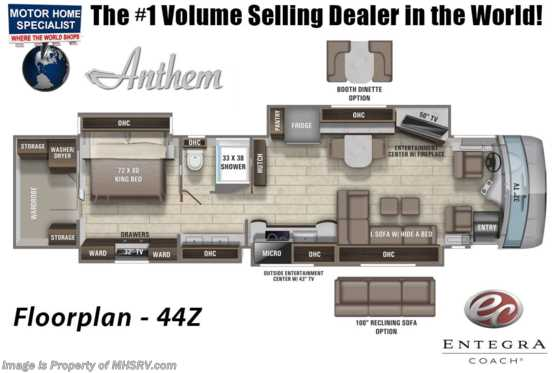 2021 Entegra Coach Anthem 44Z W/ King, Stonewall, Reclining Sofa, Solar Floorplan