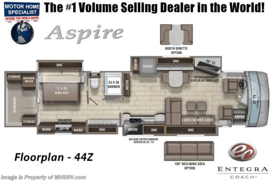 2021 Entegra Coach Aspire 44Z W/ Reclining Sofa, Stonewall, Solar, Valid Digital Dash Floorplan