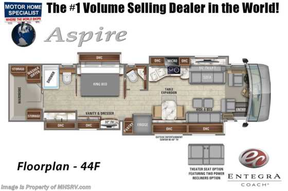 2021 Entegra Coach Aspire 44F Bath & 1/2 W/ Theater Seats, Solar, Valid Digital Dash, Tuscan Cherry Floorplan