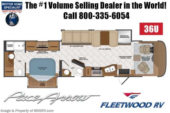 2020 Fleetwood Pace Arrow 36U Bath & 1/2 Diesel Pusher W/ King, & OH Loft Floorplan