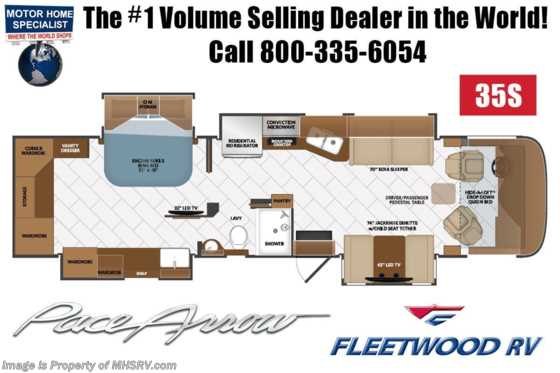 2020 Fleetwood Pace Arrow 35S Diesel Pusher RV for Sale W/ Theater Seats, King, W/D Floorplan
