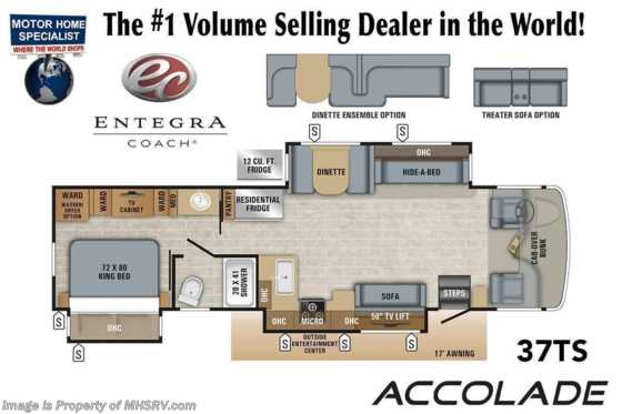 2021 Entegra Coach Accolade 37TS Diesel Super C RV W/ 360HP, W/D, King, Pwr Theater Seating Floorplan