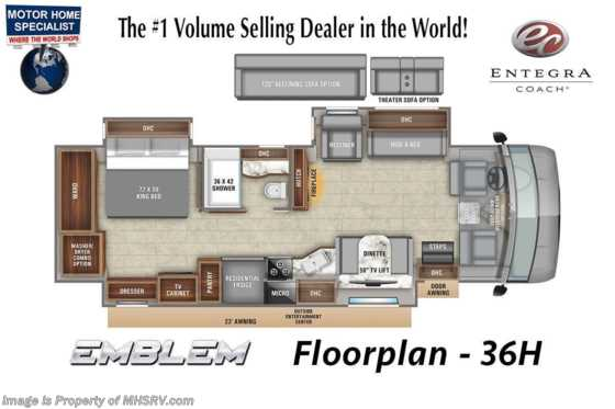 2021 Entegra Coach Emblem 36H W/ Theater Seats, W/D, King & OH Loft Floorplan