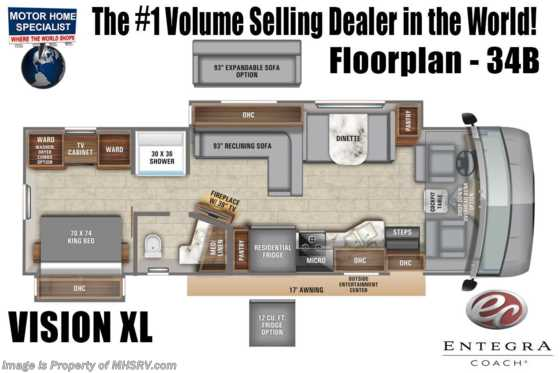2021 Entegra Coach Vision XL 34B W/ King, Reclining Sofa, OH Loft, Customer Value Pkg Floorplan