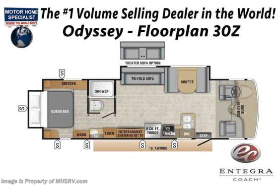 2021 Entegra Coach Odyssey 30Z W/ Bedroom TV & Auto Jacks Floorplan