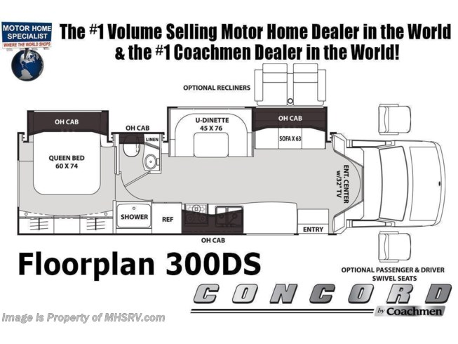 Floorplan of 2021 Coachmen Concord 300DS