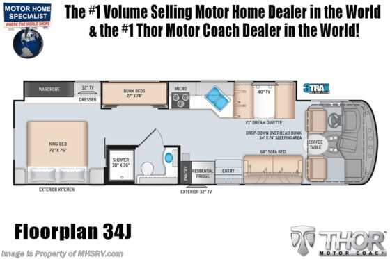 2021 Thor Motor Coach Hurricane 34J Bunk Model W/King Serta Bed,2 A/Cs, WiFi Floorplan