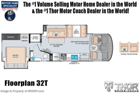 2021 Thor Motor Coach Hurricane 32T W/ King, OH Loft, Ext TV, Solar Floorplan