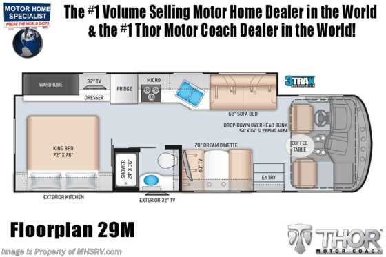 2021 Thor Motor Coach Windsport 29M W/ Theater Seats, Exterior TV, Solar & King Bed Floorplan
