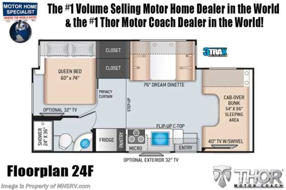 2021 Thor Motor Coach Four Winds 24F W/ 15K A/C, Ext TV & Bedroom TV Floorplan