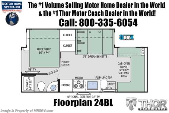 2021 Thor Motor Coach Four Winds Sprinter C 24BL Sprinter W/Turbo Diesel & Home Collection Floorplan