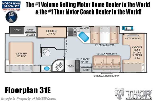 2021 Thor Motor Coach Chateau 31E Bunk Model W/ Mor-Ryde Suspension, 2 A/Cs, Ext TV
