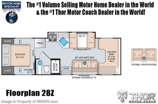 2021 Thor Motor Coach Chateau 28Z W/ Theater Seats, Stabilizers, Ext TV, Bedroom TV