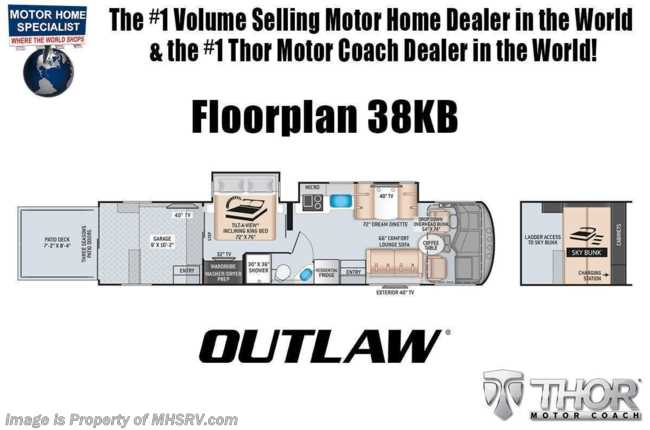 2021 Thor Motor Coach Outlaw Toy Hauler 38KB Toy Hauler RV W/ Dual Pane, King Bed, Garage Sofas