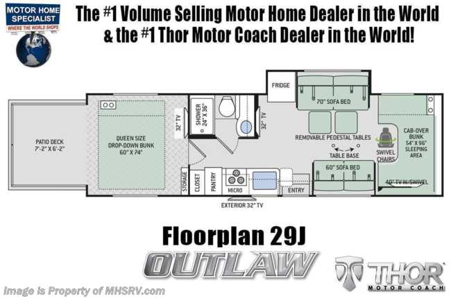2021 Thor Motor Coach Outlaw Toy Hauler 29J Toy Hauler Class C RV W/ WiFi & Ext TV