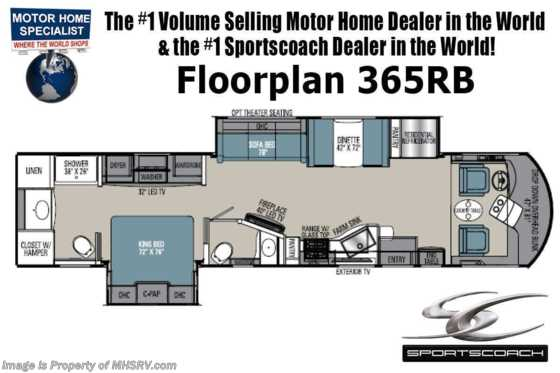 2021 Coachmen Sportscoach SRS 365RB Bath & 1/2 W/ King, W/D, OH Loft & 340HP Floorplan