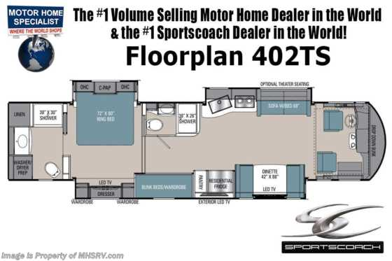 2021 Coachmen Sportscoach 402TS Two Full Bath, Bunk Beds,Theater Seating, King, W/D Floorplan