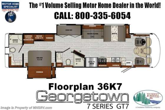 2021 Forest River Georgetown GT7 36K7 Bunk Model W/Two Full Baths, Theater Seating, King Bed & W/D Floorplan