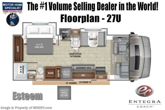 2020 Entegra Coach Esteem 27U W/ King Bed, Fiberglass Roof, 2 A/Cs & Customer Value Pkg Floorplan