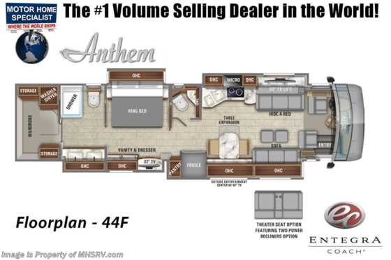 2021 Entegra Coach Anthem 44F Bath & 1/2 W/ Theater Seats, Stonewall, Custom Paint Floorplan