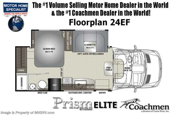 2020 Coachmen Prism Elite 24EF W/ Hydraulic Jacks, WiFi, 3 Cameras, Ext TV Floorplan