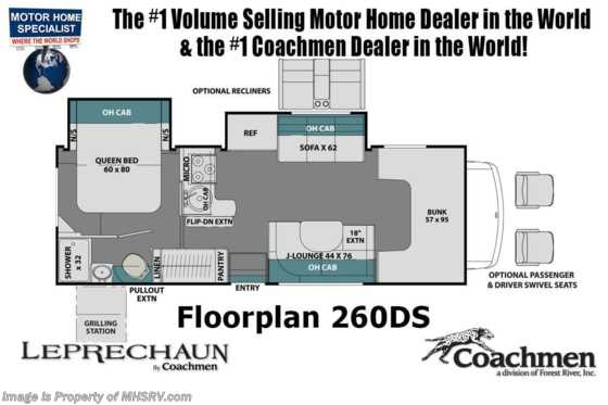 2021 Coachmen Leprechaun 260DSC W/ CRV Comfort Pkg, Dual Recliners, FBP, Side by Side Fridge, Dual A/C & Jacks Floorplan