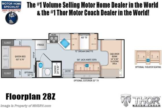2021 Thor Motor Coach Chateau 28Z W/ Theater Seats, Stabilizers, Home Collection, Ext TV, Solar Floorplan