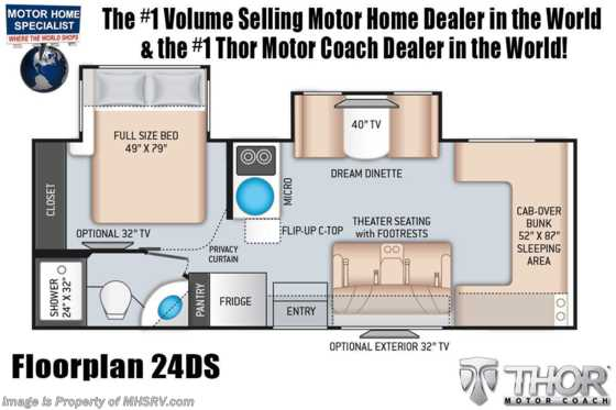 2021 Thor Motor Coach Four Winds Sprinter C 24DS Sprinter W/ Theater Seats, Turbo Diesel, Tank Heaters Floorplan