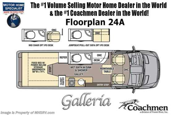 2021 Coachmen Galleria 24A 4x4 Sprinter W/ Li3 Lithium Battery Sys, 20K A/C, Solar Floorplan