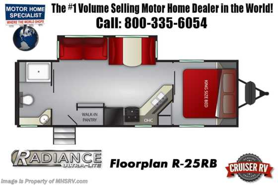 2021 Cruiser RV Radiance Ultra-Lite 25RB W/ King, Walk-In Pantry, 2 A/Cs & Power Stabilizers Floorplan
