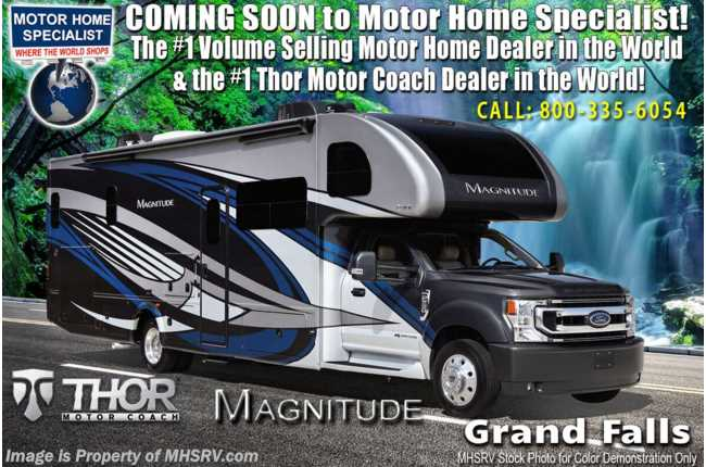 2021 Thor Motor Coach Magnitude BH35 Bath & 1/2 330HP Diesel Super C W/ Theater Seats, King, Dsl Gen