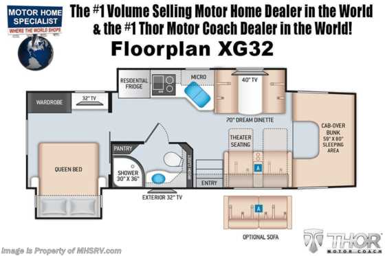 2021 Thor Motor Coach Magnitude XG32 4x4 330HP Diesel Super C W/ Theater Seats Floorplan