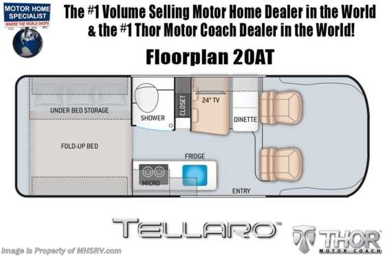2021 Thor Motor Coach Tellaro 20AT W/ Retractable Roof Top, Truma, Bike Rack, Rapid Camp + & Solar Floorplan