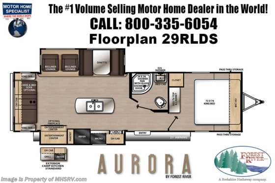 2021 Forest River Aurora 29RLDS W/ Recliners, King Bed, 2 A/Cs, Camp Kitchen, Fireplace Floorplan