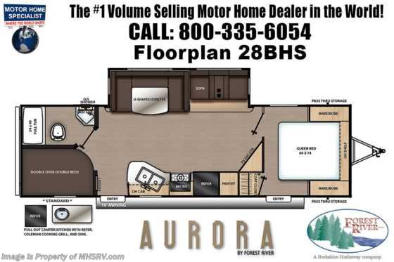 2021 Forest River Aurora 28BHS Double Bunk Model W/ Ext Camp Kitchen, Fireplace Floorplan