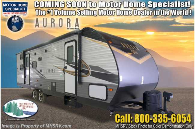 2021 Forest River Aurora 28BHS Double Bunk Model W/ Ext Camp Kitchen, Fireplace