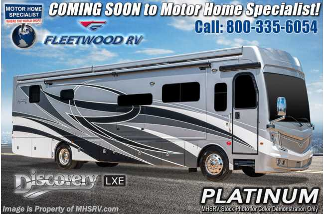 2021 Fleetwood Discovery LXE 40M Bath & 1/2 W/ Theater Seats, Tech Pkg, King Bed & OH Loft