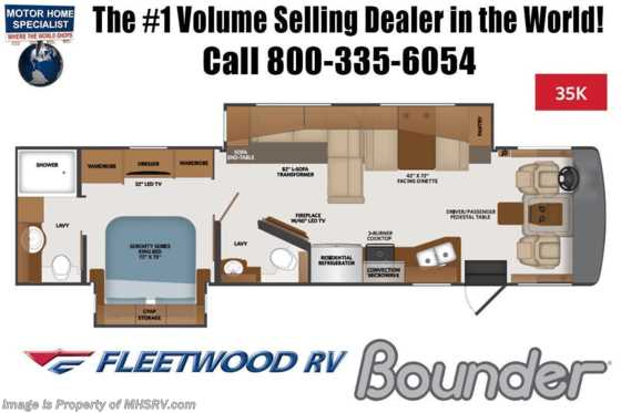2021 Fleetwood Bounder 35K Bath & 1/2 W/ Theater Seats, King, W/D, Collision Mitigation Floorplan