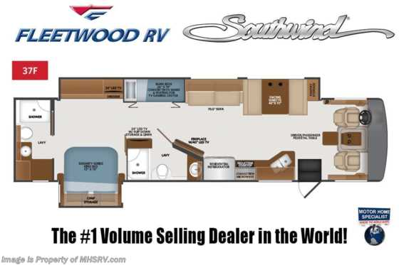 2021 Fleetwood Southwind 37F 2 Full Bath Bunk Model W/ Theater Seats, W/D, King & Sumo Springs Floorplan