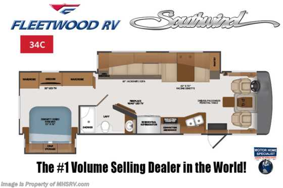 2022 Fleetwood Southwind 34C W/ Theater Seats, Collision Mitigation, 7KW Gen & Sumo Springs Floorplan