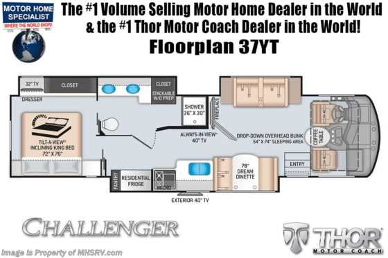 2021 Thor Motor Coach Challenger 37YT W/ Tilt-A-View King, OH Loft, Ext TV, Res Fridge Floorplan