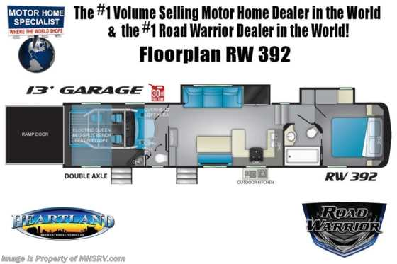 2021 Heartland RV Road Warrior 392RW Luxury Toy Hauler RV for Sale - Bath & 1/2, 3 A/Cs, FBP, Garage Wall, Mor/Ryde Pin Box Floorplan