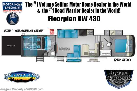 2021 Heartland RV Road Warrior 430RW Luxury Toy Hauler RV for Sale - Bath & 1/2, 3 A/Cs & Garage Wall Floorplan