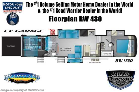2021 Heartland RV Road Warrior 430RW Luxury Toy Hauler RV for Sale - Bath & 1/2, FBP, 3 A/Cs & Garage Wall Floorplan