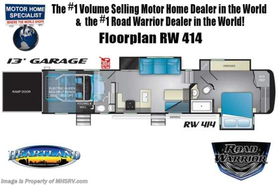 2021 Heartland RV Road Warrior 414RW Luxury Toy Hauler RV for Sale - Bath & 1/2, FBP, 3 A/Cs & Garage Wall Floorplan